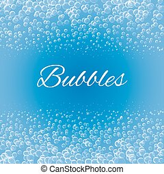 burbujas, en, fondo azul,