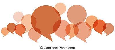 burbujas, fila, coloreado, discurso