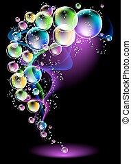 burbujas, neón, humo, espectacular