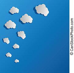 burbujas, papel, conjunto, nubes, corte, discurso, afuera