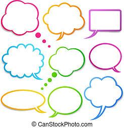 burbujas, vector, discurso, conjunto