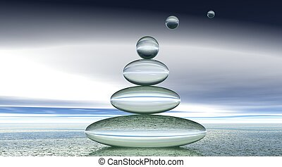 burbujas, zen, transparente