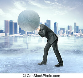 Burden concept - Man with concrete sphere instead of head on...