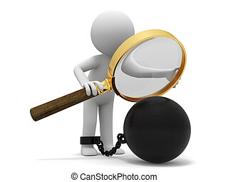 Magnifying glass, iron ball, A people observe the heavy iron with a Magnifying glass
