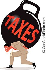Burden of taxes - Exhausted man carrying a huge kettlebell...