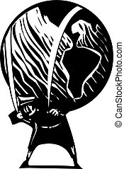 Woodcut style image of a man carrying the world on his shoulders.