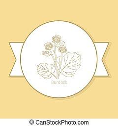 Burdock medicine plant yellow label