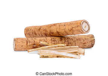 burdock roots or kobo isolated on white background