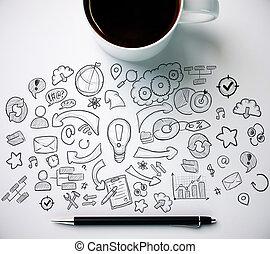 bureau, à, tasse à café, et, business, croquis