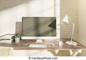 Blanc informatique vide bureau haut mur concret articles
