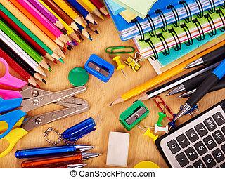 bureau, école, supplies.