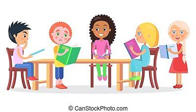bureau, écoliers, livres, lecture, séance