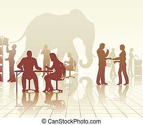 bureau, éléphant