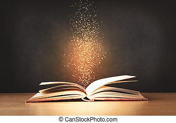 bureau, étincelant, haut, vieux, levée, ouvert, étoiles, livre