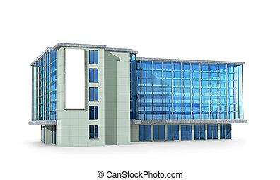 bureau, 3d, illustration, vue, côté, bâtiment.