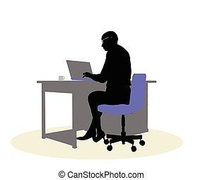 bureau, affaires femme, séance