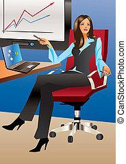 bureau, affaires femme