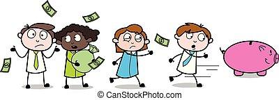 bureau affaires, gens, argent, -, illustration, vecteur, employé, vendeur, dessin animé