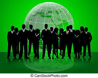 bureau affaires, gens, ensemble, indique, constitué