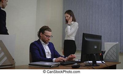 bureau affaires, gens fonctionnement