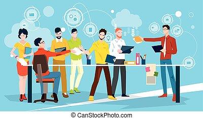 bureau affaires, gens, réunion, équipe, discuter, idée génie