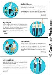 bureau affaires, idée, illustration, vecteur, collaboration