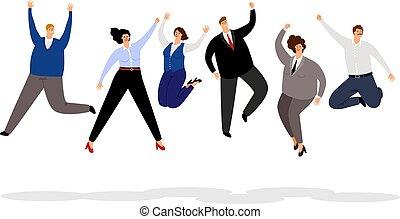 bureau affaires, illustration, gens., gens, enjôleur, sauter, hommes affaires, équipe, sourire, joyeux, femmes affaires, dessin animé, heureux