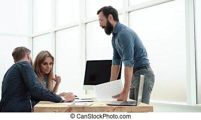 bureau affaires, issues., résoudre, employés, concept.