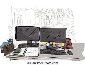 bureau affaires, lignes, isolé, illustration, vecteur, arrière-plan noir, bureau, désordre, blanche salle