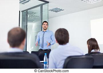 bureau affaires, métier, interview., confection, présentation, homme
