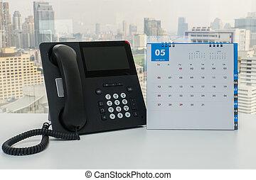 bureau affaires, mai, ip, téléphone, 2018, calendrier, réunion, rappel