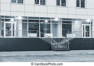bureau, affaires modernes, bâtiment., ville, entrée