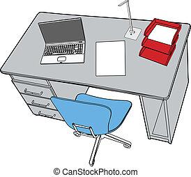 bureau affaires, ordinateur portable, scène, bureau, rapport