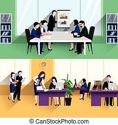bureau affaires, plat, bannières, composition, affiche