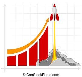 bureau affaires, profite, projection, ventes, croissance, taux, infographics, training., ou, revenues., résultat