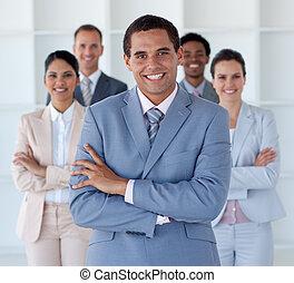 bureau affaires, regarder, appareil photo, équipe, international