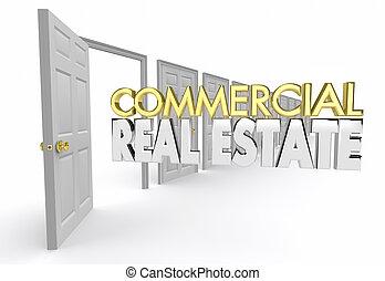 bureau, agence, agent, vrai, commercial, illustration, propriété, emplacement, 3d