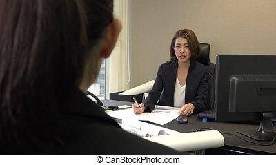 bureau, aide, patron, métier, femme, entrevue, réunion