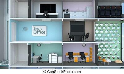 bureau, animation, bâtiment, intelligent