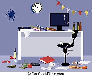 bureau, après, fête