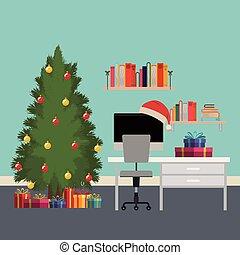 bureau, arbre, scène, dons, bureau, noël