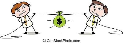 bureau, argent, -, illustration, vecteur, combat, employé, vendeur, dessin animé