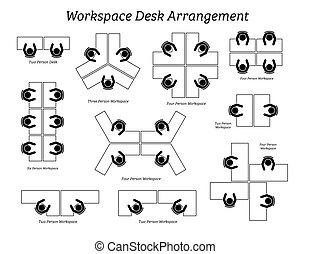 bureau, arrangement, espace de travail, bureau, company.