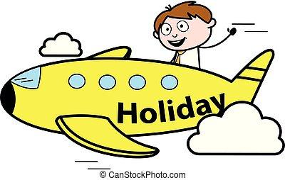 bureau, avion, -, illustration, vecteur, employé, vendeur voyage, dessin animé