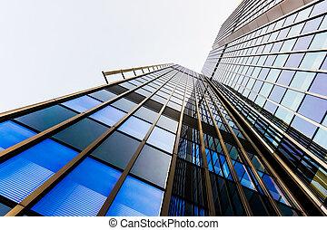 bureau, bâtiments., verre, silhouettes., gratte-ciel