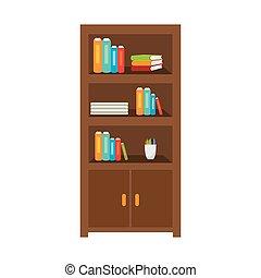 bureau, bibliothèque, meubles
