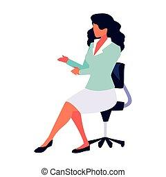 bureau, blanc, femme affaires, chaise, séance, fond