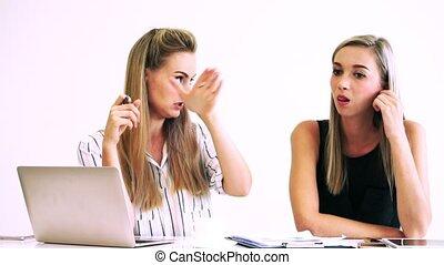 bureau., blond, business, fonctionnement, moderne, femme