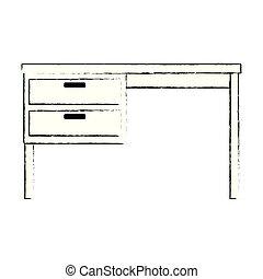 bureau bois, bureau, icône