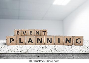 bureau, bois, signe, planification, bureau, événement